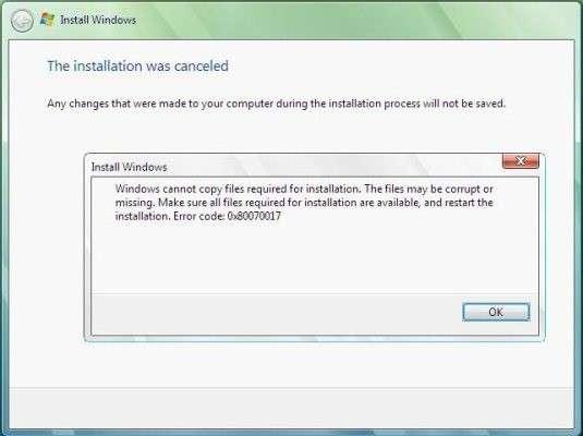 Що робити, якщо при установці windows 7 видає помилку?